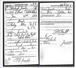 F. W. Jacobs Military Reg Card