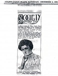Pearl Stephens Blecke Toledo Daily Blade 1908
